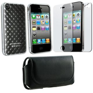piece TPU Rubber Case/ Screen Protector Combo for Apple iPhone 4