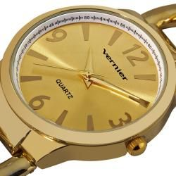 Vernier Womens Fashion Gold Tone Oversized Link Watch