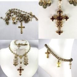 Smoky Quartz Crystal 6 mm Catholic Wedding Jewelry Set