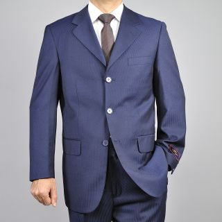 Carlo Lusso Mens Tonal Navy Blue 3 Button Suit