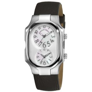 Philip Stein Mens Signature Black Leather Strap Dual Time Watch