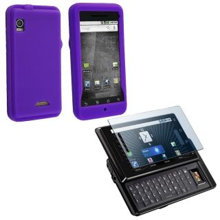 piece Purple Silicone Case/ Screen Protector for Motorola Droid A855