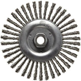 Narrow Face Wire Wheel Brush, Threaded Hole, Stainless Steel 302