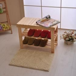 Solid Pinewood Shoe Storage Bench