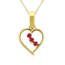 10k Gold Created Ruby July Birthstone Heart Necklace