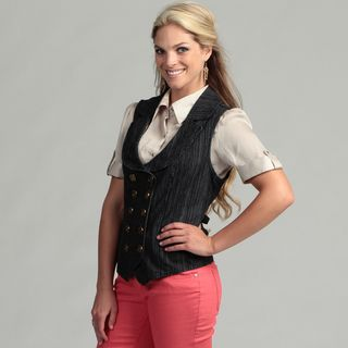 Live A Little Womens Blue Stripe Double breasted Vest
