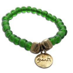 Goldtone Recylced Glass Shanti Mala Bracelet (Indonesia)
