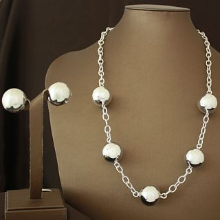 Handcrafted Shiny Alpaca Silver Beads Necklace and Earrings Set