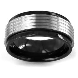 Two tone Stainless Steel Grooved Spinner Ring