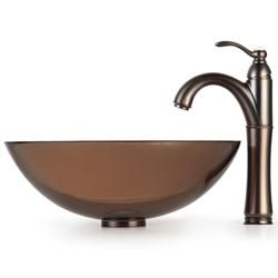 Kraus Brown Clear Glass Vessel Sink and Rivera Bathroom Faucet
