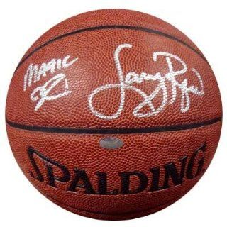 Magic Johnson Autographed Ball   & Larry Bird Mounted