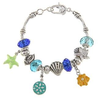 La Preciosa Silvertone Multi colored Sealife Bead Charm Bracelet
