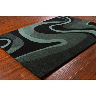 Allie Handmade Geometric Black/ Teal Wool Rug (5 x 76)