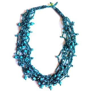 Green Luzy Turquoise Turquoise and Bead Necklace (Guatemala