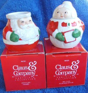 Avon Santa and Mrs Clause Sugar and Creamer Set Kitchen