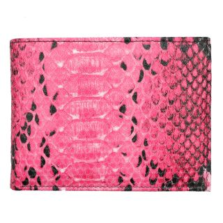 Mens Pink Python embossed Leather Bi fold Wallet