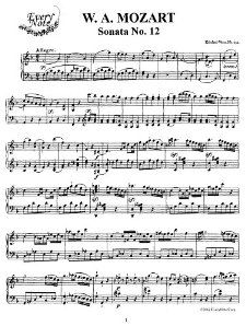 Mozart Piano Sonata No. 12 in F Major, K.332 Instantly download and