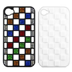 White TPU/ Black Plastic Hybrid Diamond Case for Apple iPhone 4/ 4S