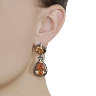 Journee Collection Silvertone Round cut and Teardrop Orange CZ