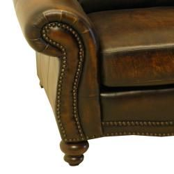 England Brown Hand rubbed Luxurious Italian Leather Sofa and Chair