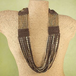 Handcrafted Goldtone Brown Glass Beads Necklace (India)