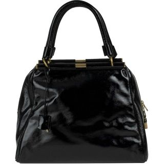 YSL Majorelle Black Patent Leather Medium Bag