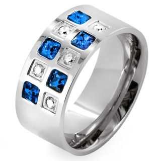 Stainless Steel Blue and Clear CZ Checkered Ring