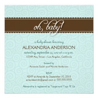 Oh, Baby! Swirly Baby Shower Invitation (sage)