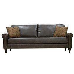 James Renu Brown Leather Rolled Arm Sofa