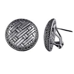 Sterling Silver Round Bali Weave Earrings (Indonesia)