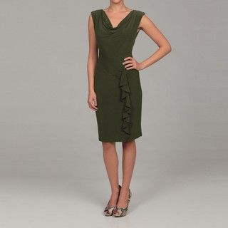 Evan Picone Womens Spanish Olive Ruffle Dress