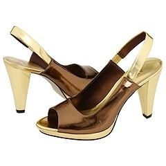 AK Anne Klein Ebony Bronze Patent Sandals