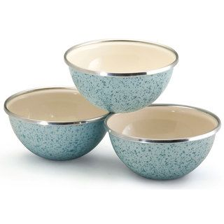Paula Deen Signature Enamel on Steel Blue 3 piece Prep Bowl Set