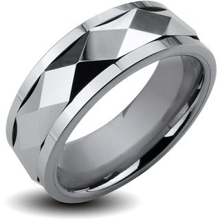 Tungsten Carbide Diamond Faceted Spinner Ring (8 mm)