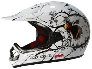 Kinder Moto Cross Motorrad Dirt Pocket Bike Helm L White Eagle