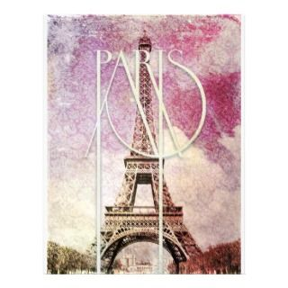 damask Eiffel Tower, Paris Customized Letterhead