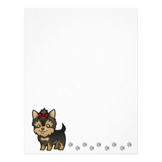 Yorkie (puppy with bow) Personalized Letterhead