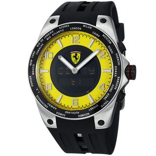 Ferrari Mens World Time Yellow Analog Digital Dial Quartz Watch