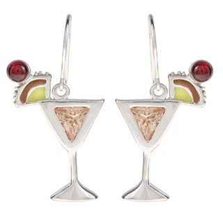 Silvermoon Sterling Silver Mai Tai Cubic Zirconia and Enamel Earrings