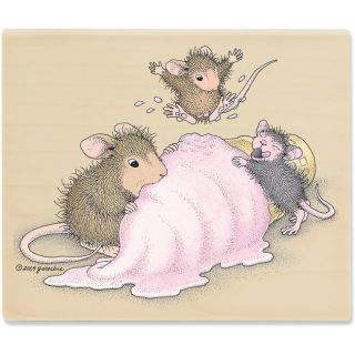 House Mouse Mice Scream For Ice Cream Rubber Stamp