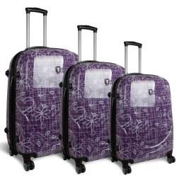 World Pebble Purple Love Letter 3 piece Polycarbonate Luggage Set