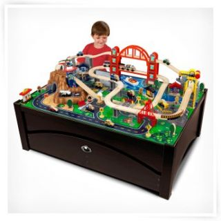 kidkraft metropolis train set table with trundle drawer