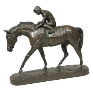 OK Casting 13H in. Well Run Jockey N Horse Sculpture   Sculptures