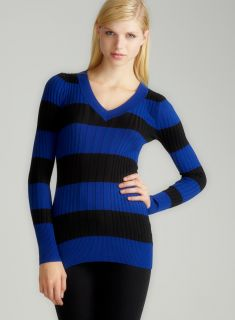 Prince Of Thieves L/S V Neck Stripe Rib Sweater