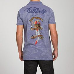 Ed Hardy Mens Death Before Dishonor Polo Shirt