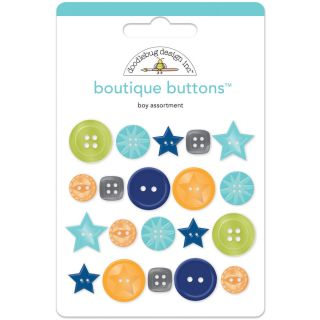 Doodlebug Boy Boutique Buttons (Pack of 20)