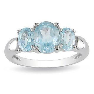 Sterling Silver Blue Topaz 3 stone Fashion Ring