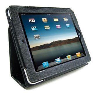 Premium Apple iPad 2 Black Leather Stand Case