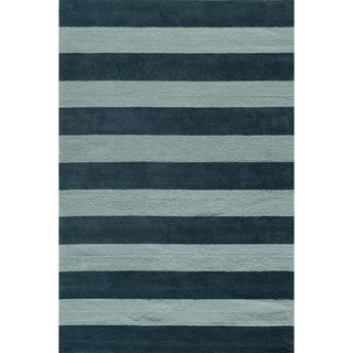 Momeni Lil Mo Cabana Strip Blue Cotton Rug