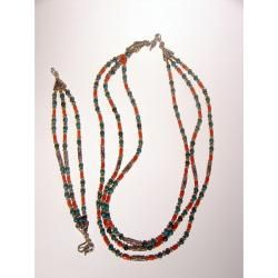 Sterling Silver Turquoise and Coral Beaded Necklace and Bracelet Set